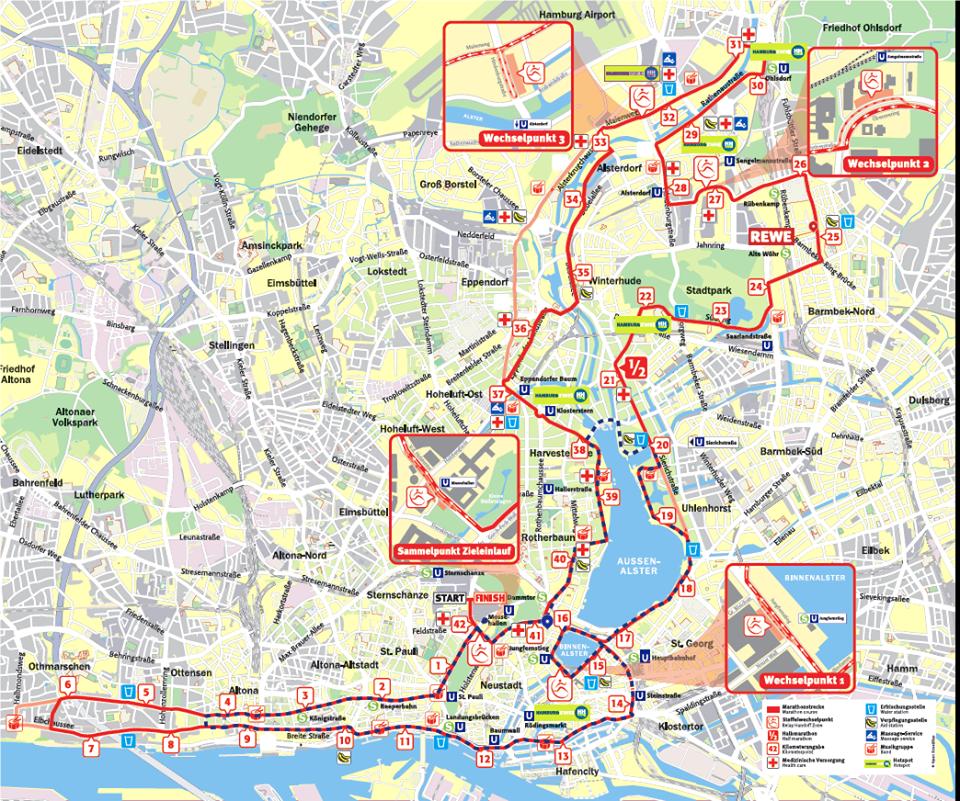 Strecke Hamburg Marathon